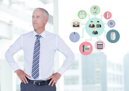 Digital generated image of businessman standing with hands on hips next to application icons