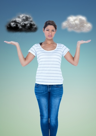 conscience: Conceptual image of confused woman between good and bad conscience against grey background