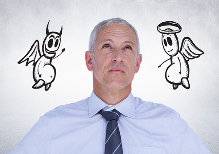 Digital composition of thoughtful businessman with angel and devil doodle in background Stok Fotoğraf