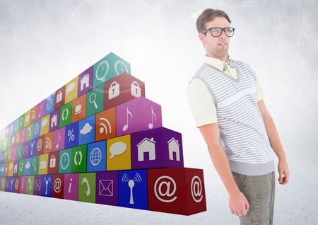 Digital composite of man standing beside various applications Stock Photo