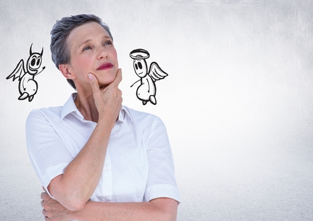 conscience: Digital generated image of businesswoman confused between the good and bad conscience Stock Photo