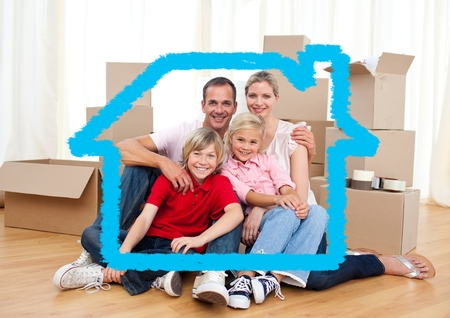 handholding: Digital composition of family sitting in living room against house outline in background