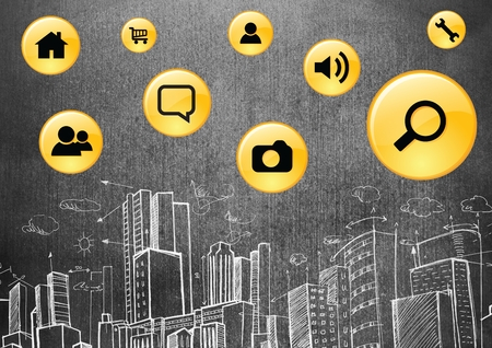 urban background: Digital composition of app icons against hand drawn office buildings on blackboard Stock Photo