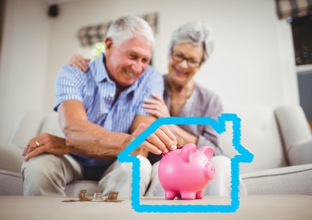 Digital composition of senior couple insert coins in piggy bank against house outline Stock Photo