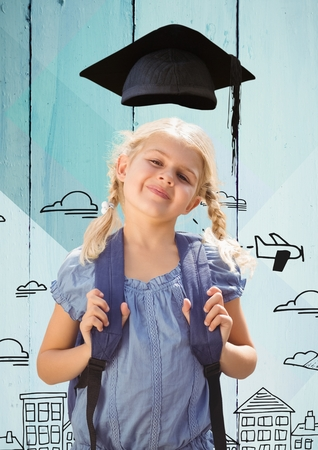 handholding: Digital composition of girl with bagpack in graduation hat standing against hand drawn city background Stock Photo