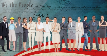 Digital composition of group of business executives standing against script