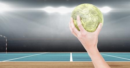 Digital composition of athlete throwing handball against stadium in background