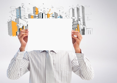 handholding: Digital composition of businessman holding blank placard in front of his face against hand drawn office buildings in background Stock Photo