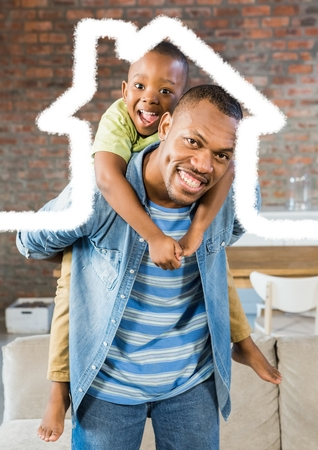 Digital composition of man carrying his son on his shoulder against house outline in background
