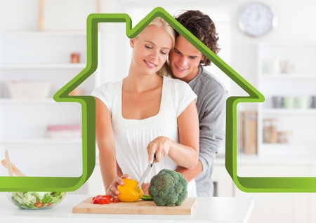 handholding: Digital composition of romantic couple in kitchen against house outline in background