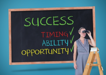 career timing: Digital composition of businesswoman looking through binoculars while standing on ladder against sucess concept on blackboard in background Stock Photo