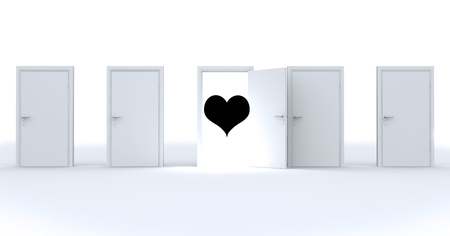 camaraderie: Digitally generated image of black heart shape on the door