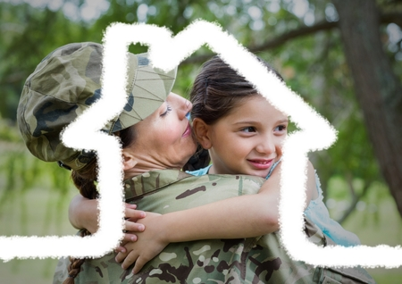 Digital composition of female soldier carrying her daughter overlaid with house shape Stock fotó