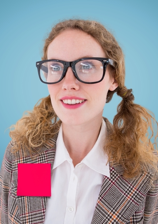 dreariness: Close-up of a woman with blank sticky note on her jacket