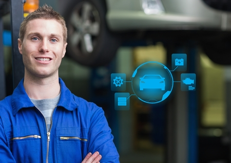 Digital composition of confident automobile mechanic and mechanic interface