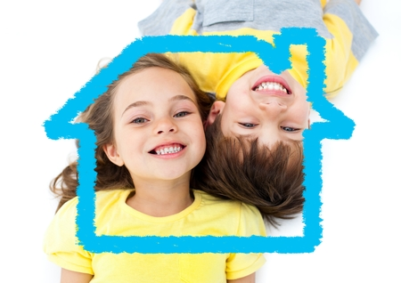 handholding: Digital composition of happy kids overlaid with house shape