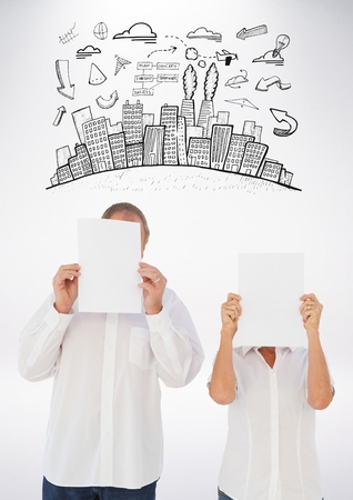 handholding: Digital composition of man and woman holding blank white papers in front of their face and graphic on background Stock Photo
