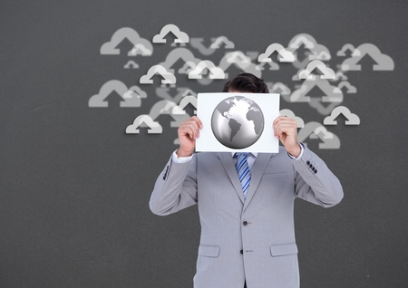 chrome man: Digital composition of businessman holding sheet of paper with globe and cloud shapes with arrows signs in background