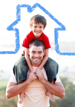 Digital composition of a father carrying son on his shoulders overlaid with house shape photo
