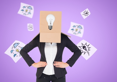 Conceptual image of businesswoman covering her face with cardboard box against digitally generated background