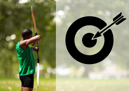 Digitally generated image of male athlete practicing archery
