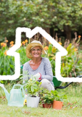 Digital composition of home outline with senior woman gardening in background