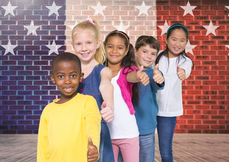 floorboards: Digital composite image of children doing thumbs up gesture with France national flag in background