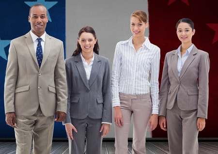 woman business suit: Digital composite image of business professionals standing together against france national flag Stock Photo
