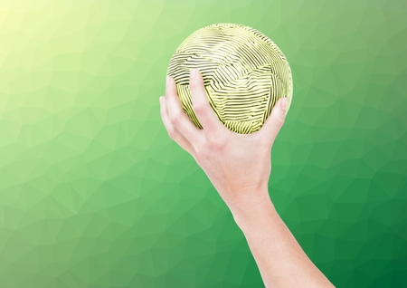 Digital composite image of athlete hand holding ball against textured green background