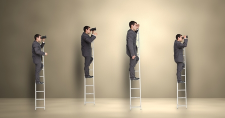 peering: Digital composite image of businessman looking through binoculars while standing on the ladder