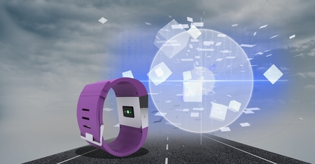Digitally generated image of smart watch on highway against sky in background Stock Photo