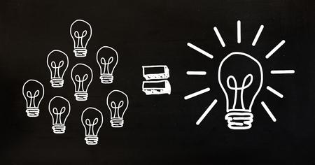 smolder: Digital composition of conceptual image showing power efficiency light bulb on black background