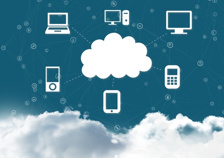 smother: Conceptual image of cloud computing against blue sky in background
