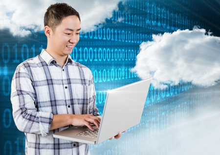smother: Digital composition of smiling man using laptop with clouds and binary codes in background Stock Photo