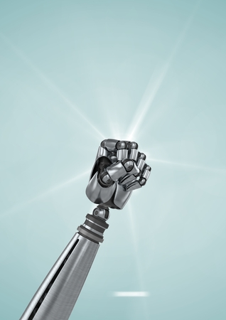 tablet pc in hand: Close-up of robot fist against light blue background Stock Photo