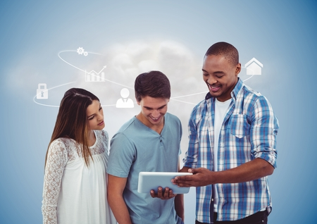 Executives using digital tablet over digitally generated background photo