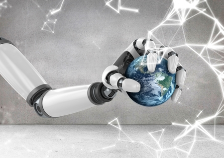 cropped: Digital composition of robot hand holding globe with sparks Stock Photo