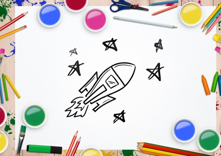 scrolling: Digital composite image of rocket and stars drawn on paper surrounded with various watercolor and pencils Stock Photo
