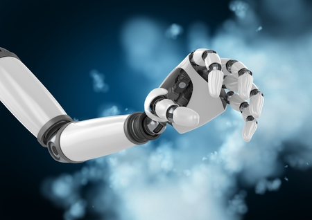 Close-up of robot hand against digitally generated   background