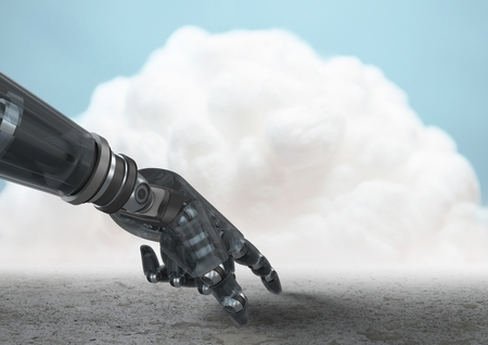 Digital composition of robot hand pointing to ground with cloud in background