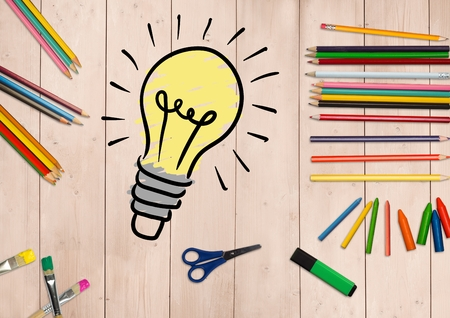 smolder: Digitally generated of innovative bulb surrounded by stationery on wooden background