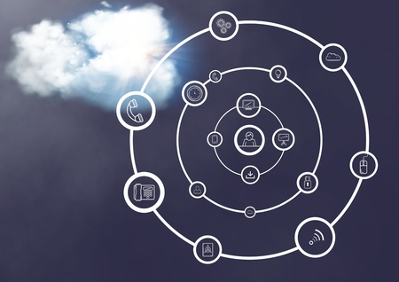 smolder: Digitally generated image of a interface with connecting icons against cloud in the background Stock Photo