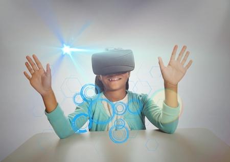 high def: Digital generated image of shoolgirl wearing virtual reality headset