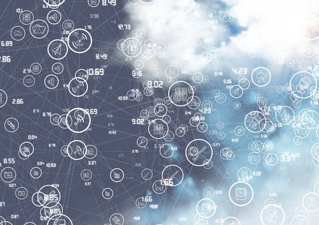Digital composition of connecting icons with clouds in background Stock Photo