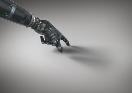 graphical user interface: Digitally generated image of robot hand touching grey background