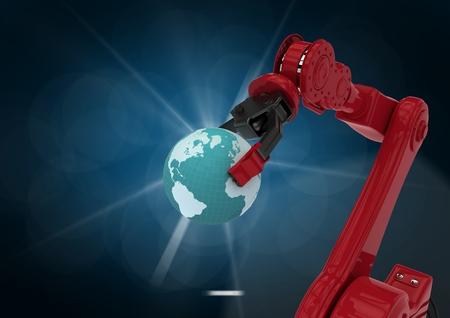 Robotic arm holding globe against blue background