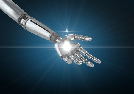 Close-up of robot hand with white light against blue background