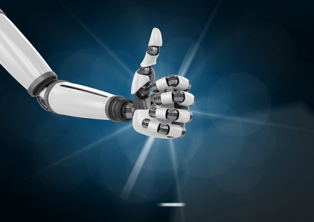 scrolling: Digital generated image of robotic hand with thumb up Stock Photo