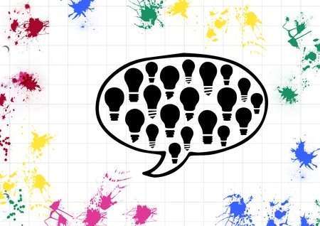 Speech bubble with light bulb and paint stroke on white background Stock Photo