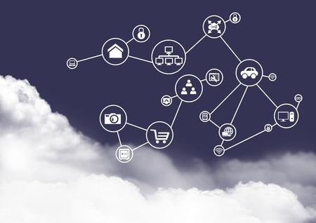 Digitally generated of connecting icons on clouds